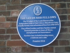 Photo of Independent Order of Odd Fellows Manchester Unity Friendly Society blue plaque