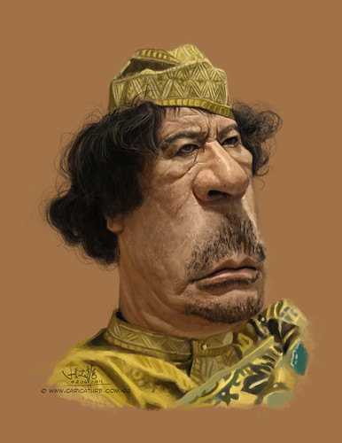 digital caricature of Qadhāfī