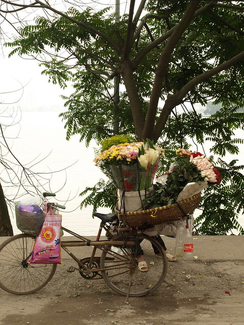 A flower shop on a bicycle