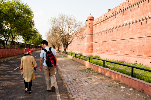 Walking along the outer wall of the Red Fort