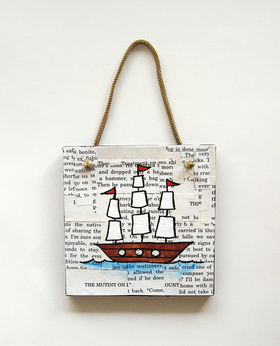 Decoupage ship wall hanging