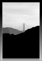 a real gone bridge (Doubletee) Tags: sf sanfrancisco california bridge blackandwhite bw geotagged blackwhite dof goldengatebridge flickrwalk canonef100mmf28macrousm