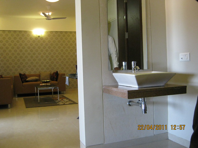 Living and wash basin in the sample flat at Park Springs - 2 BHK - 3 BHK Flats - Lohegaon Gram Panchayat - Dhanori - Pune 411 032 - By Pride Purple Group & Rainbow Housing