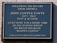 Photo of John Cowper Powys blue plaque
