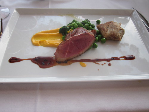 Pacific's Edge - Hyatt Highlands - Carmel, CA - April 2011 - Sonoma Duck Breast, Five Spice Pastilla with Confit of Duck, Carrot Puree, English Peas and Shoots, Duck Jus