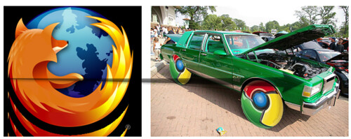 Firefox logo & Google Chrome Car