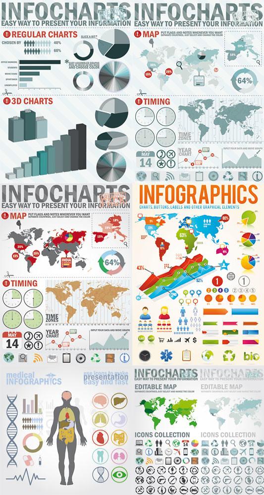 Elementos gráficos para infografias en vectores