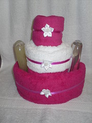 Ladies Pamper Cake Pink & White (OliviaAdams10) Tags: nappycake giftsforher nappycakes gifther unqiuegifts