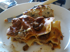 Lasagne and chicken mince stuff (?)