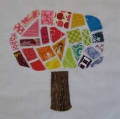 Mosaic Tree Sample Block (jenjohnston) Tags: tree applique quiltblock tickertape quiltingbee