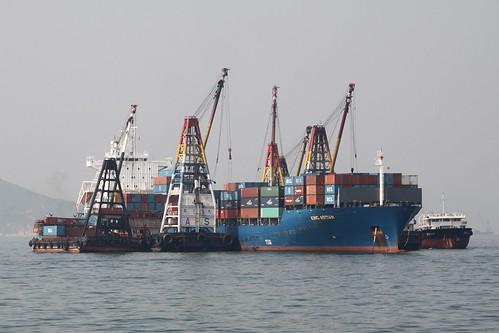 Mid-stream cargo handling off Lamma Island in Hong Kong