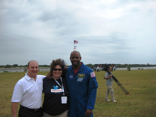 Me in an Astronaut Sandwich Between Garrett Reisman and Leland Melvin, NASA Tweetup, Kennedy Space Center, April 29, 2011