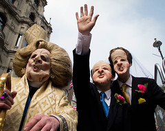 Royal Honeymoon Send-off (Sven Loach) Tags: uk wedding england david london face canon prime bride suits honeymoon hand veil britain kate robe politics satire nick royal photojournalism tie marriage prince william canterbury humour deputy masks cameron margaret waving wills democrats liberal minister sendoff thatcher reportage conservatives baroness tories mockery g12 middleton archbishop libdems clegg londonist 2011 29april