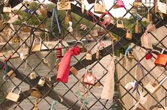Paris 2011 - The love bridge (Adele Sweeney Photography) Tags: paris ribbons padlocks notredamecathedral pontdelarchevch thelovebridge