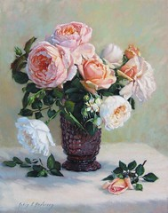 Peach and White Roses in Purple Grape Glass Vase (Robin L Anderson) Tags: pink flowers blue red orange white flower floral robin rose by garden painting anderson oil vase romantic oilpainting lucile englishroses robinanderson robinlucilleanderson robinlucileanderson