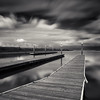 Launch Pads (~ superboo ~ [busy busy]) Tags: coyote longexposure bw sepia marina reflections point bay boat still san francisco cloudy piers calm pilings launch toned mateo