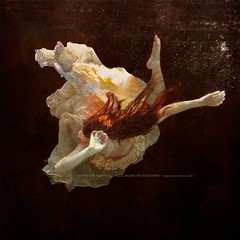The Gulf (Nearing Extinction). (Merrilyn Romen) Tags: ocean underwater shadows political redhead dreamy redhair atmospheric grief balletic
