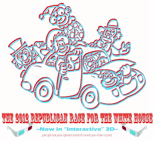 GOP 2012 Clown car in 3D