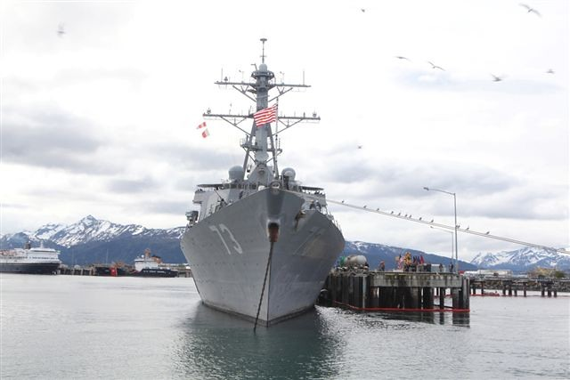 USS Decatur sits docked in Homer, Alaska