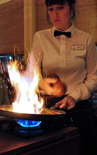 Making Bananas Foster at the Palace Cafe