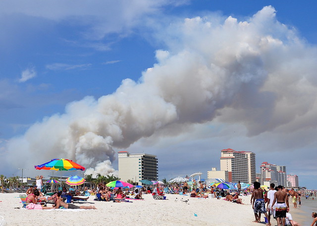 fires in gulf shores..view from the beach