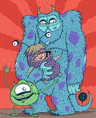 Mike, Sully, and Boo (TheGrossUncle) Tags: abstract silly color art mike goofy monster illustration fun design blog scary furry funny bright cartoon sketchbook boo pixar marker caricature sharpie sully wacky monstersinc characterdesign pixart thegrossuncle