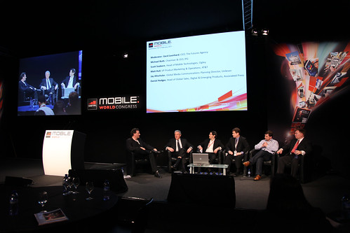 Gerd Leonhard moderating a mobile advertising panel at the Mobile World Congress 2011