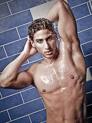Sabastian (petetaylor) Tags: blue gay male water vancouver tile shower model arms top chest sixpack sabastian gtm alienbees beautydish thebestofday gnneniyisi petertaylorphotography wwwpetertaylorphotocom modelmodelgay