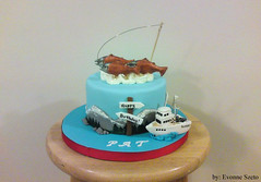 Alaska Fishing Cake ({ Sweet Xpressions } Cake) Tags: chicago mountains fishingboat fondant gumpaste slamon fishingcake specialtycake customcake