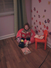 Enjoying her new big girl room.