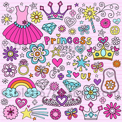 Cute Princess Notebook Doodle Design Elements Illustration by blue67design (blue67design) Tags: tiara flower tattoo illustration rainbow princess jewelry doodle crown henna jewels vector tutu royaltyfree microstock mhendi menhdi