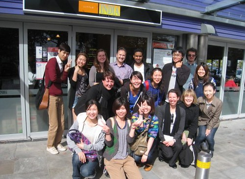 Languages International students & staff outside Little India Restaurant, Christchurch