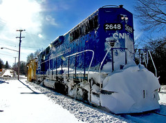 GMTX 2648 Plow Extra (amtrak_russ) Tags: railroad winter sun snow train michigan rail plow extra marquette freight conrail emd gp382 newaygo 2648 gmtx