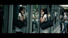 Mirror Mirror (James Yeung) Tags: street reflection girl underground subway hongkong candid cinematic mtr streetphotographycandidstreetportrait