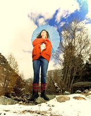 Hang time (Flickr_Rick) Tags: snow outside jump jumping crossprocessed ashley levitation parasol jumpology