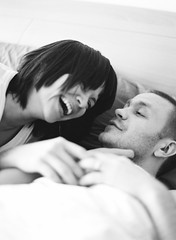 (Inn Kostukovsky) Tags: two bw cute film happy bedroom hands couple married skin together laugh kodaktrix moment sundaymorning inlove wakingup medformat 80mm contax645 takeitlightly
