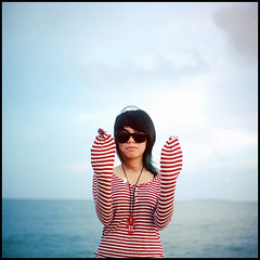 -0032 (hey.poggy) Tags: red sea portrait 120 tlr film beach girl track stripes seagull bluesky line squareformat malaysia concept ph cutegirl terengganu analoguecamera creativeportrait poggy kodakektacolorpro160 seagull4 ezyan swirlbokeh poggyhuggies mrhuggies mekyam skullychain squidwardshands