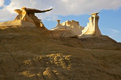 "Bisti ""wings"" (Rozanne Hakala) Tags: usa newmexico southwest rock landscape outdoors rocks desert wing scenic shapes erosion badlands geology wilderness navajo nm desolate farmington fossils formations hoodoos blm bisti sanjuancounty landofenchantment bureauoflandmanagement alargeareaofshalehills"