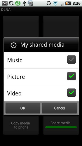 Droid 2 DLNA App Select Shared Media
