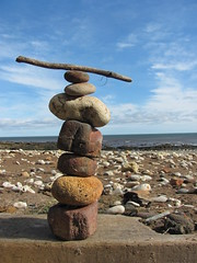 Pebble stack with a twig (IAN J0NES) Tags: beach rocks stack pebble twig blackhall