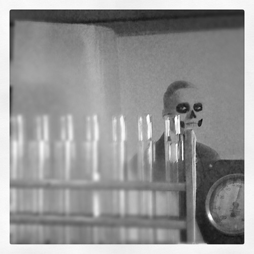 Day of the Dead Face and Test Tubes