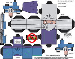 """Teenage Mutant Ninja Turtles Adventures"" -  SHREDDER papercraft model figure  [[  CUBEECRAFT  model by Joshua Wolf  ]]"