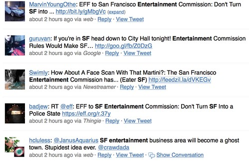 SF entertainment discussions on twitter