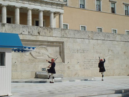 Changing guards in front of the Greek Parliament