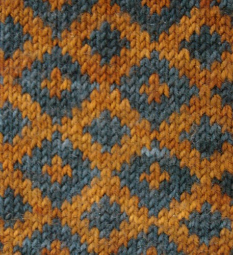 blue and orange knitting in progress