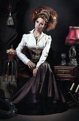 DSC_8812_web (Mascha Seitz) Tags: woman art leather fashion photomanipulation nikon gun puppet victorian makeup corset cabaret overdose retouch styling ophelia steampunk ficiton phantay siensce