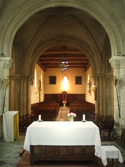 Church interior (DameBoudicca) Tags: white france church window ventana frankreich candle arch roman fenster pillar iglesia kirche medieval altar chiesa finestra nave normandie vault tablecloth romanesque normandy francia glise fentre middleages stpierre stpeter kyrka medioevo frankrike moyenge fnster mittelalter romanik romanica edadmedia medeltiden rmanico tillysurseulles