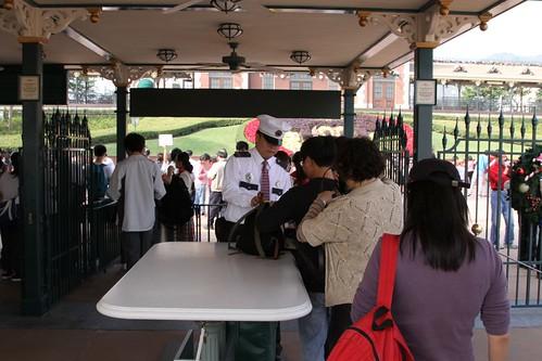 Bag checks at the entry to Hong Kong Disneyland