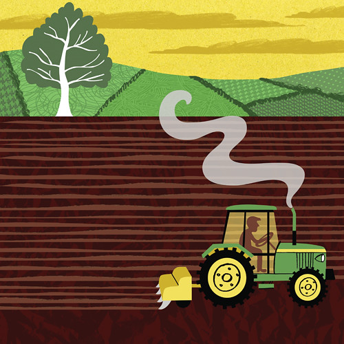 Tractor Ploughing by ardillustration