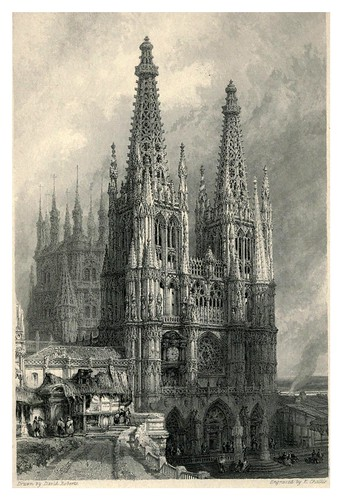 007-Fachada oeste de la catedral de Burgos- The tourist in Spain (1837)-Roberts David